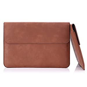 MoKo Sleeve Bag for New MacBook 12-Inch, PU Leather Protective Notebook Carrying Case Cover for New MacBook with Retina Display 12-Inch 2015/Surface 3 2015 Version, with Built-in Card Slot, Brown