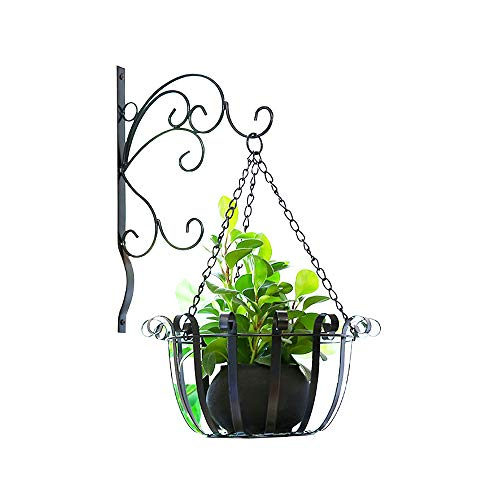 Joanna'S Home Hanging Planter, Metal Hanging Basket, Hanging Flower Baskets with Wall Plant Bracket Set Decor Garden Home Indoor or Outdoor - 12 Inch, Black