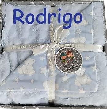 Manta Bebe Persobalizada con nombre bordado- danielstore (Azul)