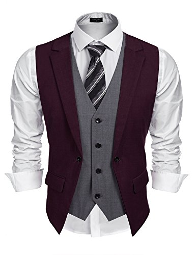 Coofandy Mens Formal Fashion Layered Vest Waistcoat Dress Vest (XXL, Wine Red)