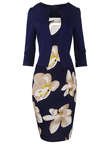 (Babyonlinedress Women's Celebrity Elegant Ruched Wear to Work Party Prom Bodycon Dress Navy,S)