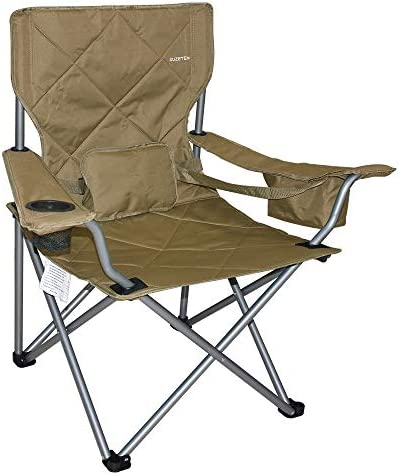 Suzeten Oversized Folding Camping Chairs Quad Arm Chair with Heavy Duty Lumbar Back Support, Cooler Cup Holder, Back Mesh Pocket, Shoulder Strap Carrying Bag Support 350 lbs, Light Brown