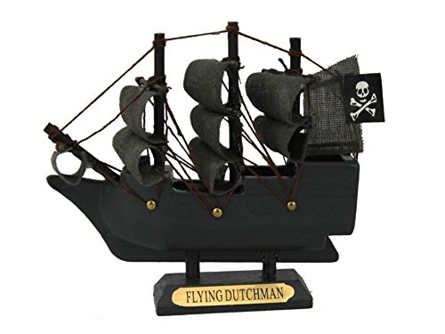 "Wooden Flying Dutchman Model Pirate Ship 4"" - Pirates Of The Caribbean - Famous"