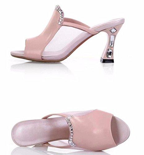 GTVERNH-Autunno Quelle Estive Spesso I Tacchi 6.5Cm Bocca Garza Strass Sandali E Pantofole Sandali Donne E 'Una Seccatura Trentaquattro Rosa