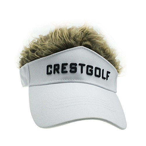 Novelty Fake Hair Hat Sun Visor Cap Wig Peaked Adjustable Baseball Golf Hat with Spiked Hair (White with Brown)]()