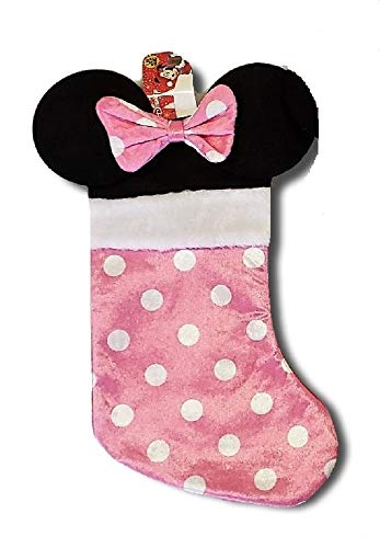 Disney Minnie Mouse Pink Polka-dot Plush Muff Deluxe Christmas Stocking