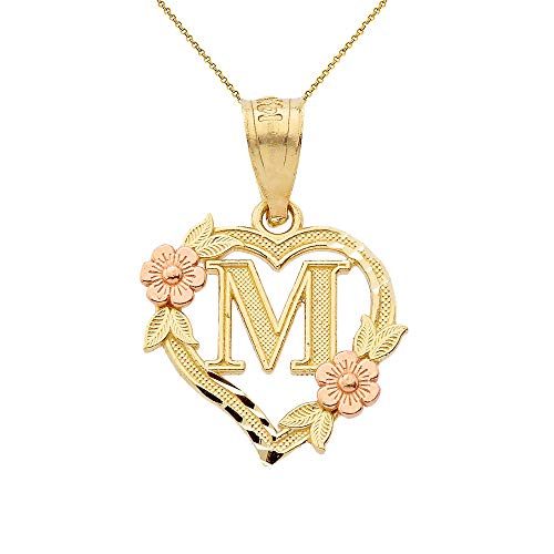 14k Two-Tone Initial Heart Pendant Necklace for Women in Yellow and Rose Gold - Letter M, 16