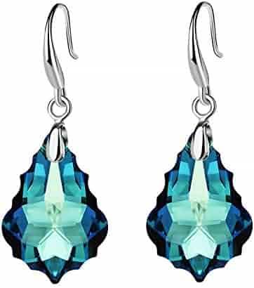 6443d3881f06df EVEVIC Swarovski Crystal Baroque Teardrop Dangle Hook Earrings for Women  Girls 14K Gold Plated Jewelry