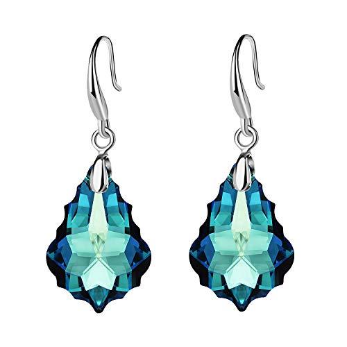 (EVEVIC Swarovski Crystal Baroque Teardrop Dangle Hook Earrings for Women Girls 14K Gold Plated Jewelry (Bermuda Blue))