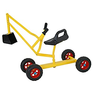 ZENY Sand Digger Toy Backhoe w/ 4 Wheels Dig in Sand, Beach, Snow, Dirt Kid's Outdoor Ride on Toy Digging Scooper Crane Christmas Holiday Kid Grandchildren Gift