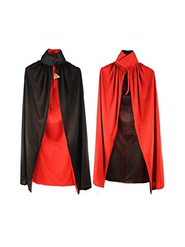 IDS Halloween Cloak Adult 140cm Long Black Red Vampire Dracula Villian Goth Magician XL Cape