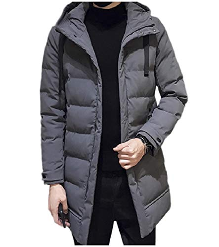 Coat Puffer Casual Jacket Loose Mens Hood Grey Thick RkBaoye with Long Mid Fit OUHqO1Pfw