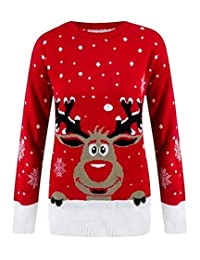Rimi Hanger Children Red Contrast Reindeer Knitted Jumper