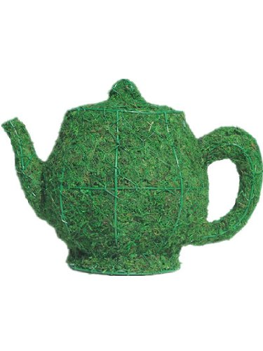 Teapot 10 inches high x 13 inches long x 8 inches wide w/ Moss Topiary Frame , Handmade Animal Decoration
