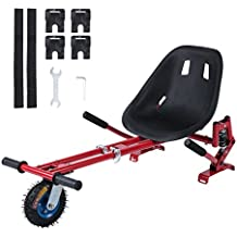 Coldcedar Upgrade Adjustable Balance Scooter Hover kart Attachment w/Shock Absorber Red Hoverboard Car Style Holder 6.5/8/10 inch 2 Wheel Self Balancing Scooter (Balance Board Not Included)