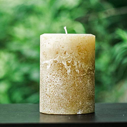 Light Brown Extra Large 4 Inch Wide Rustic Unscented Pillar Candle - Choose 4, 6 or 9 Tall