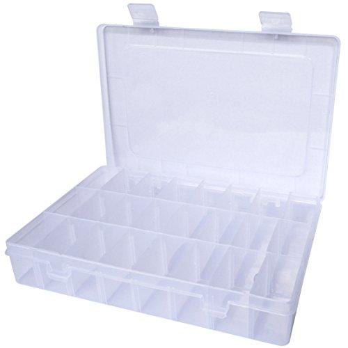 Jewelry Organizer Case, Jmkcoz 24 Grids Plastic Jewelry Box Storage Container with Adjustable Dividers (Kid Jewelry Organizer compare prices)