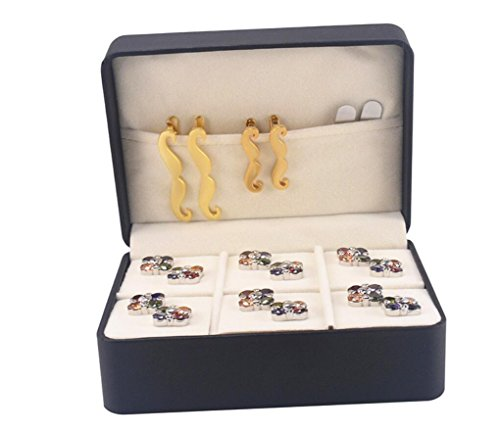 Blabroge Artificial Leather Cufflinks Tie Clip 6 Slots Storage Box Case Organiser Black by Blabroge (Image #3)