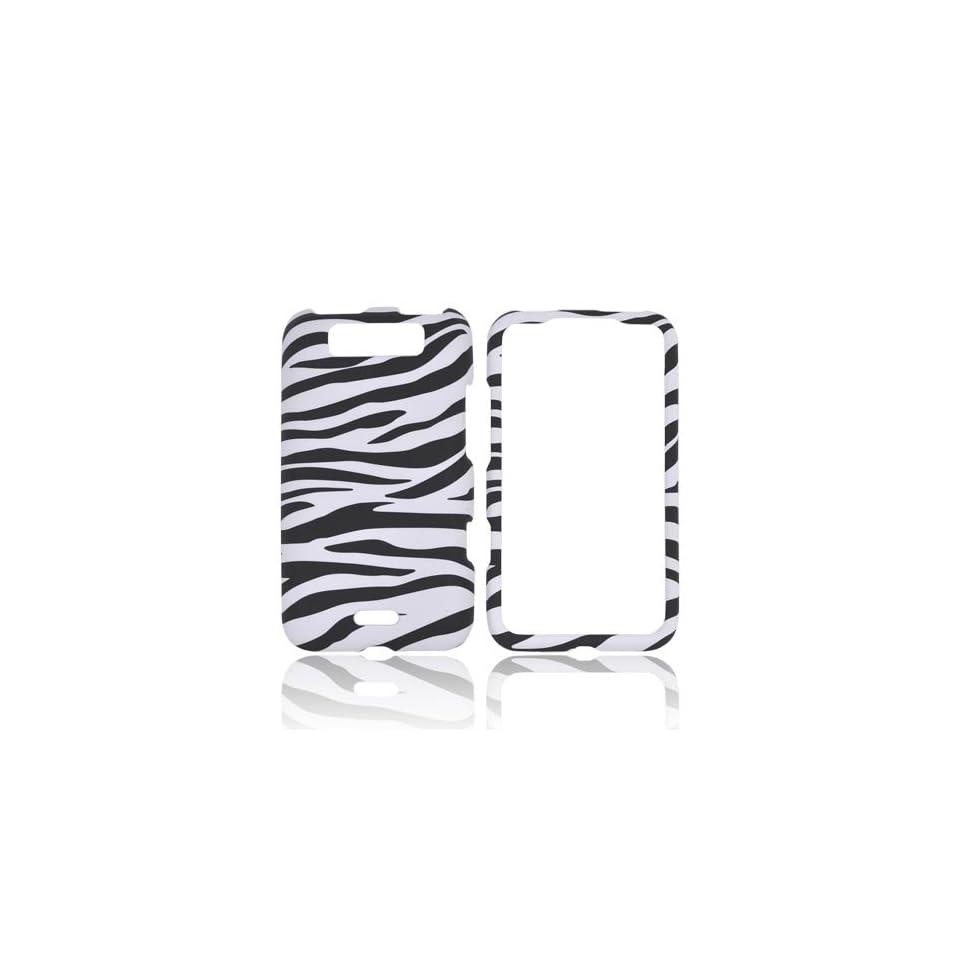 Viper 4G LTE Connect 4G Case, [White Black Zebra] Slim Grip Rubberized Hard Plastic Case for LG Viper 4G LTE Connect 4G (2012)