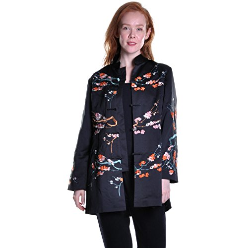 La Cera Mandarin Collar Embroidered Jacket Large ()