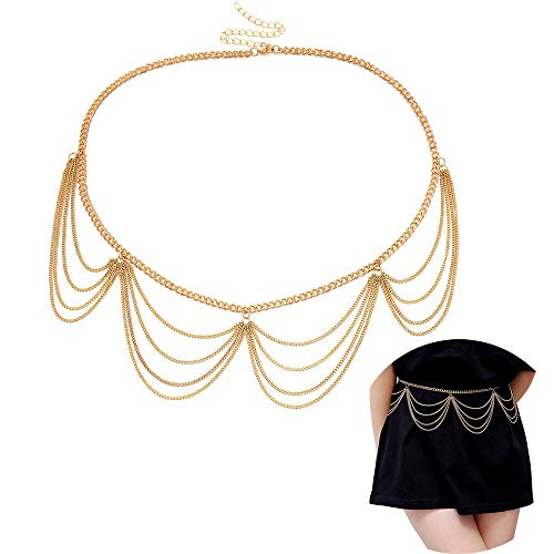 Jurxy Multilayer Alloy Waist Chain Body Chain for Women Golden Waist Belt Pendant Belly Chain Adjustable Body Harness for Jeans Dresses - Gold Style 3