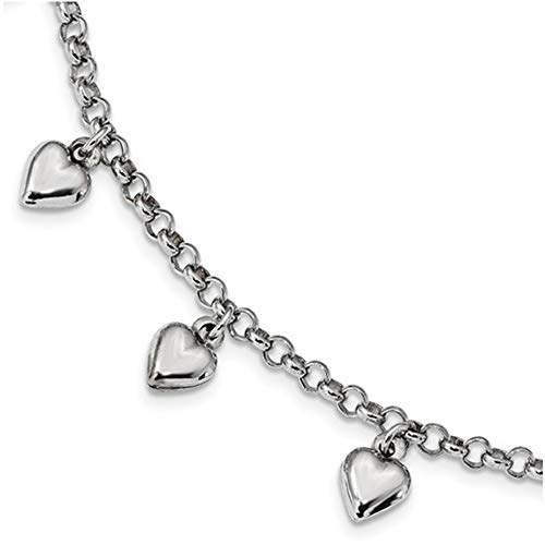 Puffed Plated Heart (Brilliant Bijou Solid .925 Sterling Silver Rhodium Plated Polished Puffed Heart Charm Bracelet 7 inches)