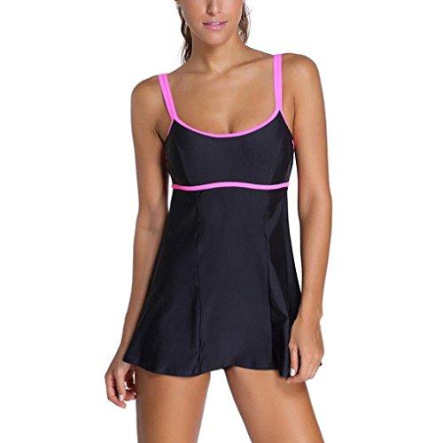 RNTOP_Swimwear Women's Plus Size Padded Bikini Swimdress Swimwear Bathing Suit Tankini (2XL)