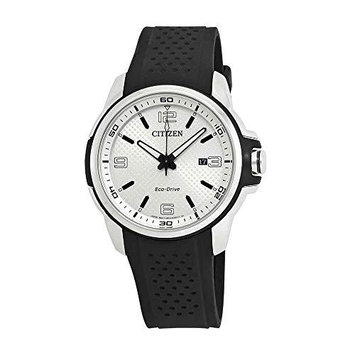 Citizen AR Silver Dial Silicone Strap Men's Watch AW1150-07A (Strap Silver White Dial)