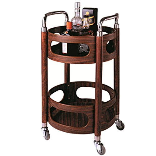 Double Layer Assembly Solid Wood Hotel Beauty Salon Restaurant Bar Aviation Trolley Hand Cart Load 50 Kg -Tool cart (Color : Mahogany Color)