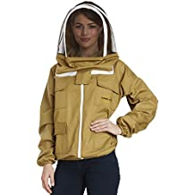 NATURAL APIARY - Apiarist Beekeeping Jacket - Khaki - Fencing Veil - Total Protection for Professional & Beginner Beekeepers - Small