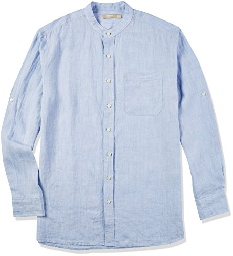 Isle Bay Linens Men's Standard-Fit 100% Linen Long-Sleeve Band Collar Woven Shirt Mid-Blue Small
