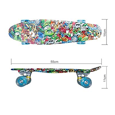 Skateboards Cruiser Fish Plate Banana Plate Complete Skateboard 21 Inch Anime World Pattern : Sports & Outdoors