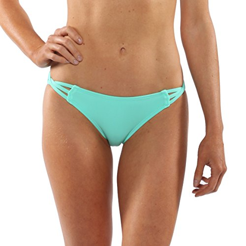 Island Love Island World Women's Separates Solid Pattern Design Cheeky Bikini Braided Bottom Turquoise XS - Extra Small Design