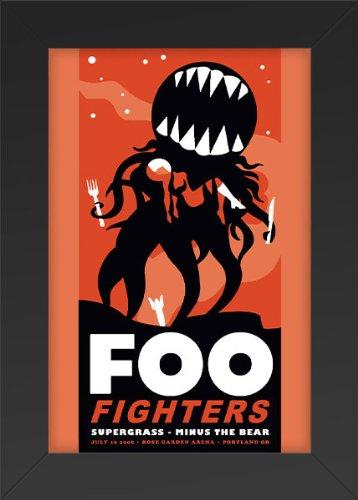 Foo Fighters - Rose Garden Arena 2008 Concert Art Print — Concert Memorabilia — 11x17 Poster FRAMED, Vibrant Color, Features Dave Grohl, Pat Smear, Nate Mendel, Taylor Hawkins, Chris Shiflett.