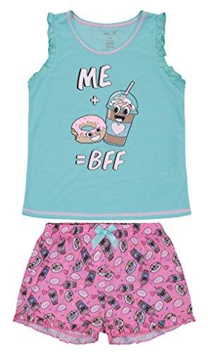 Girls Sleepwear Ruffle Tank Top Sleep Shirt & Short Pajama Toddler Set (3T, Aqua Splash/Pink) Satin Girls Pajamas