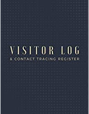 """Visitor log & contact tracing register: Visitor log book journal for business/ visitor sign in book / company guest notebook to fill Name, Contact Number, Time in & out, Signature/ 100 pages, size 8.5""""x11"""""""
