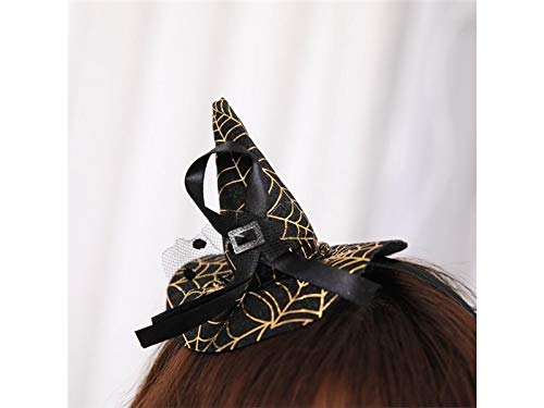 Prop Creative Witch Hat Headband Hairband Halloween Props Hair Accessories Women Party Headdress Party Decoration (Color : Golden, Size : 22cm)