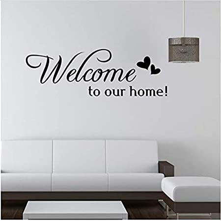 Newberli Art Wall Stickers Welcome To Our Home Diy Home Decorations Wall Decals Living Room Quote Vinyl Decals Home Decor For Family 74 24 6cm Amazon Co Uk Kitchen Home