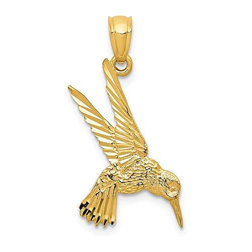 14k Yellow Gold Diamond Cut Hummingbird Pendant, 13mm (1/2 inch)