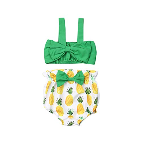 2Pcs Newborn Cute Pink Bow Outfits, Baby Girl Strap Crop Top+Ruffle Shorts Bloomers Summer Clothes Set (Green Top Pineapple Shorts, 0-6 Months) ()