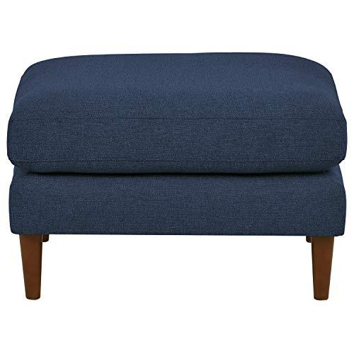 Rivet Goodwin Modern Ottoman, 30.3 W, Navy-Blue Fabric