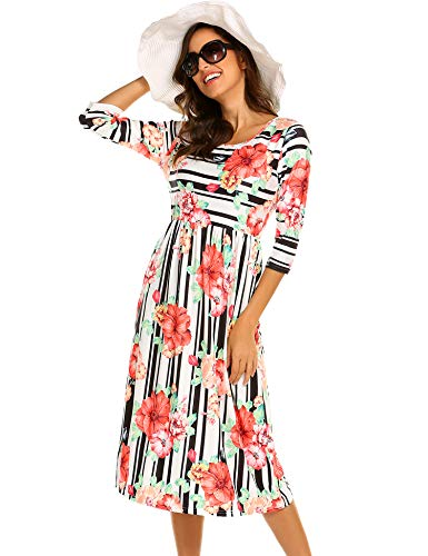 Halife Empire Waist Dress,Women's 3 4 Sleeve Stripe Casual Dress with Pocket (M, Floral Black)
