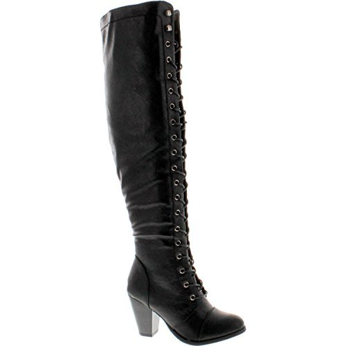 (Forever Camila-48 Womens Chunky Heel Lace Up Over The Knee High Riding Boots,Black,11)