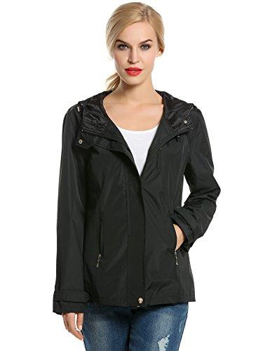 vent Coupe Sport Femme Tops Blouson Noir Manteau a Jacket Trenche CRAVOG de Veste Impermable Capuche Pluie O6dqRE