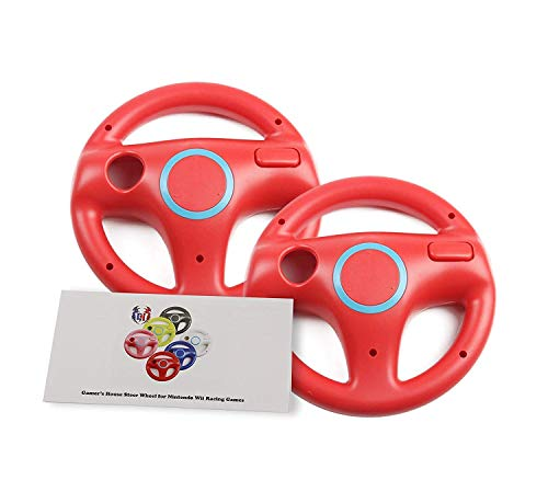 GH 2 Pack Mario Kart 8 Wheel for Nintendo Wii , Steering Wheel for Remote Plus Controlle - Mario Red (6 Colors Available) (Best Driving Games For The Wii)