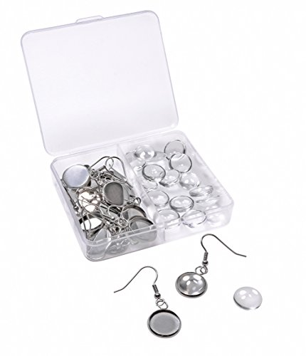 Shapenty Stainless Steel Earring Wire Hooks Clasp with 12mm Round Post Cup Tray and Glass Dome Cabochon Setting for DIY Dangle Earrings Jewelry Finding Making, 20PCS/10Pairs (Silver)