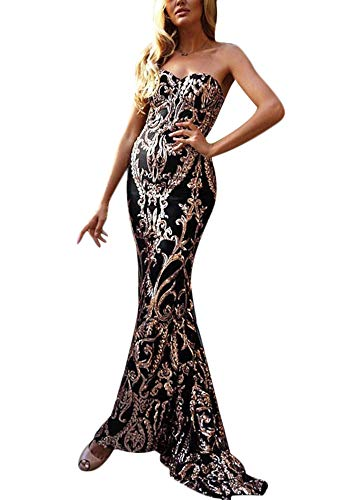 - Yissang Women's Strapless Floral Sequined Sparkle Party Evening Cocktail Mermaid Maxi Long Dress Prom Gowns Black Medium