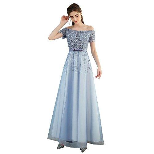 Gris Elegante Sun Goddess El Tamaño 6 Noche Prom Cordón Azul De Fiesta longitud Piso Vestido Banquete hxBdrtCsQ