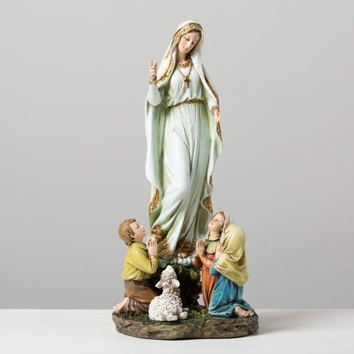 Our Lady of Fatima Children 12 Inch Resin Stone Indoor Outdoor Garden Statue (Statues For Sale Large Indoor)