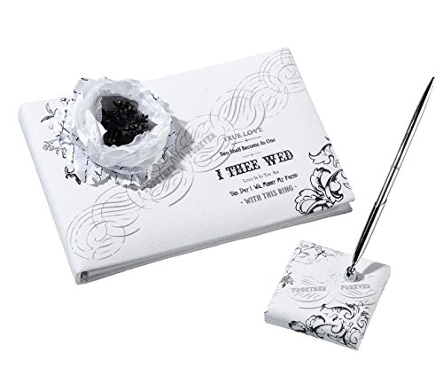 - Lillian Rose Black and White Wedding Decor Guest Book Pen Set